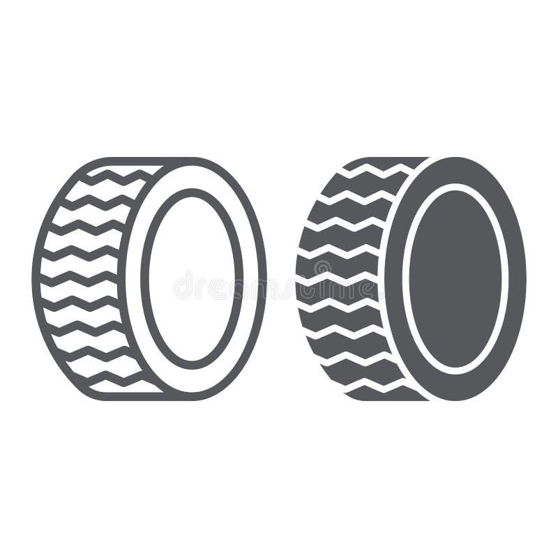 车胎线和纵的沟纹象、汽车和部分,轮子标志,向量图形,在白色背景的一个线性样式 库存例证