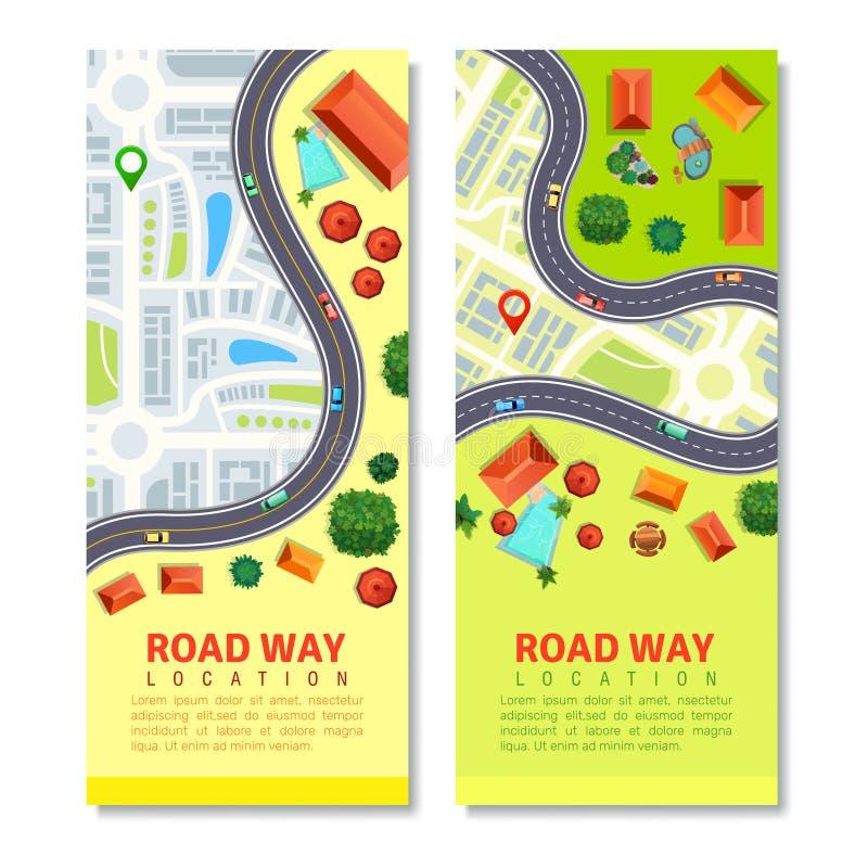 车行道地图垂直横幅 皇族释放例证