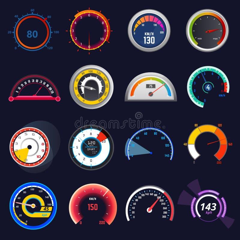 车速表传染媒介汽车速度仪表板盘区和加速功率测量例证套速度限制控制 向量例证