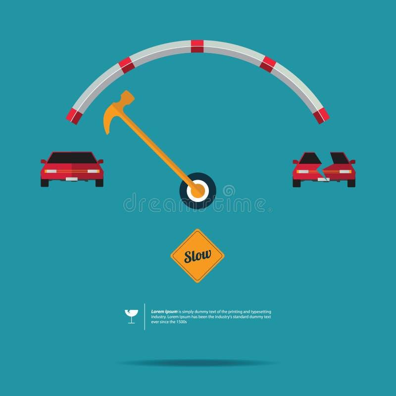车速表和缓慢的标志 皇族释放例证