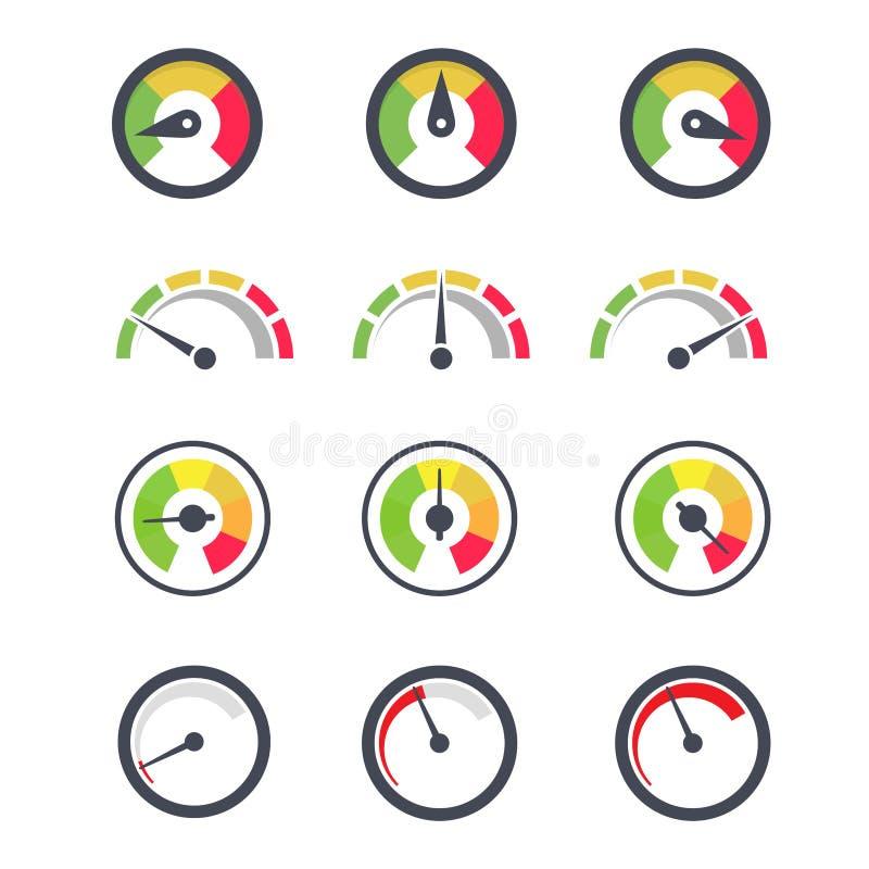 车速表极小值象、显示和有针尖的最大测量仪 库存例证