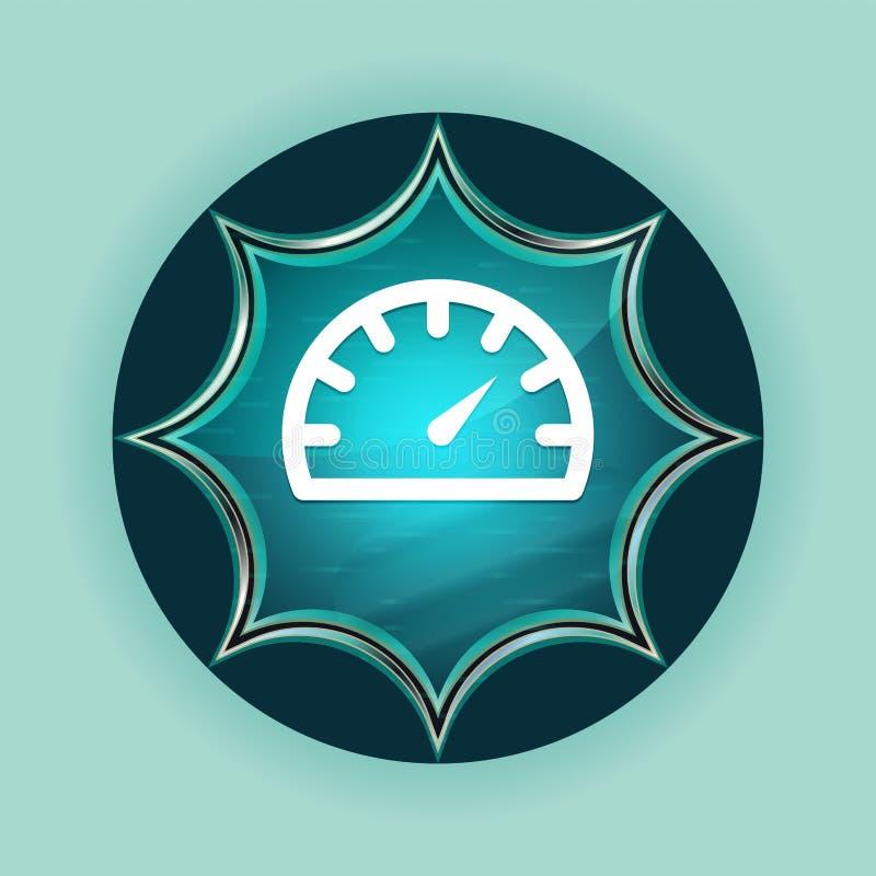 车速表测量仪象不可思议的玻璃状镶有钻石的旭日形首饰的蓝色按钮天蓝色背景 皇族释放例证