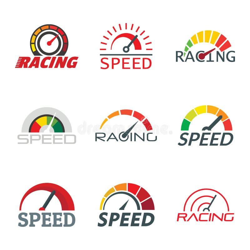 车速表电平指示器商标集合,平的样式 库存例证