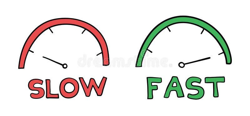 车速表的传染媒介手拉的例证 慢和快速 库存例证