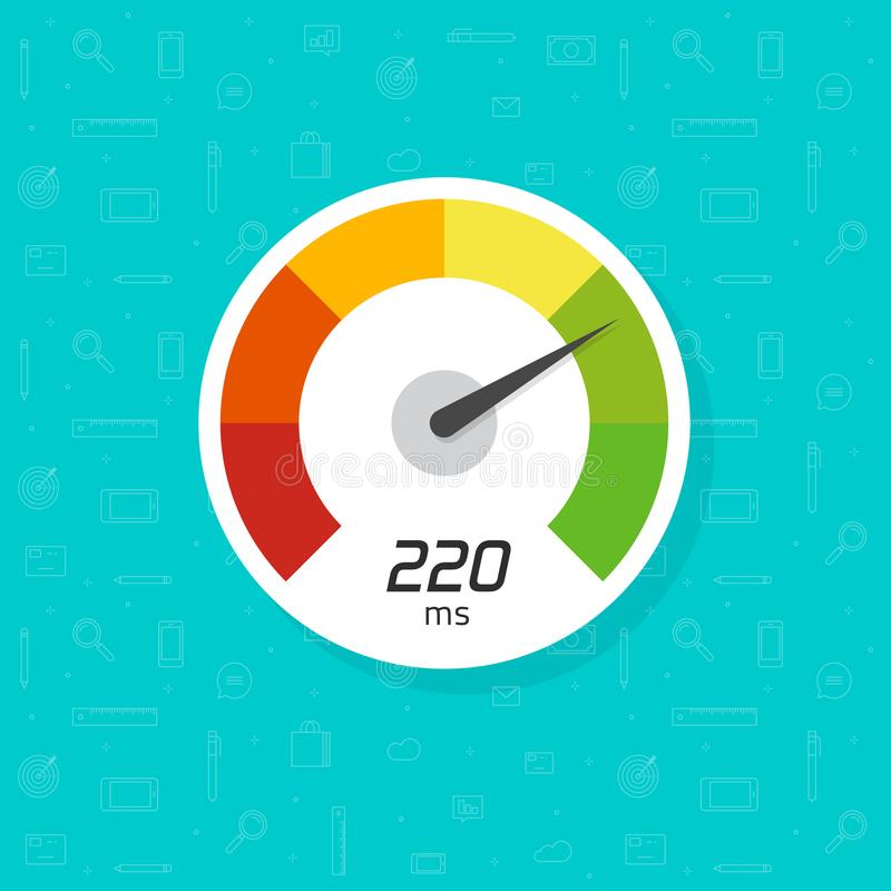 车速表被隔绝的传染媒介象,表明高速clipart的平的简单的时间拨号盘例证 库存例证
