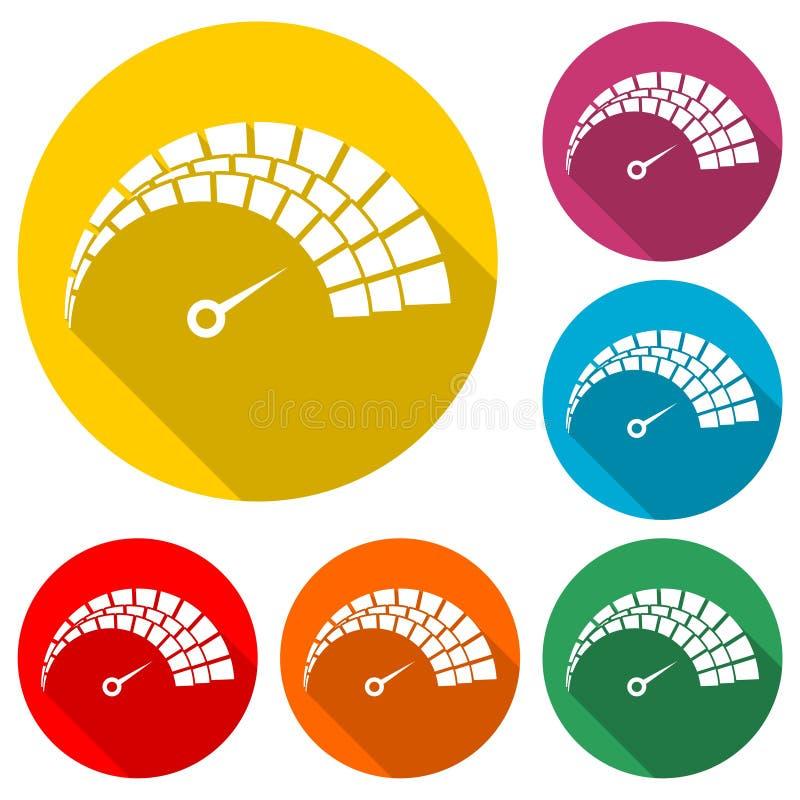 车速表象或商标,速度计,与长的阴影的彩色组 库存例证