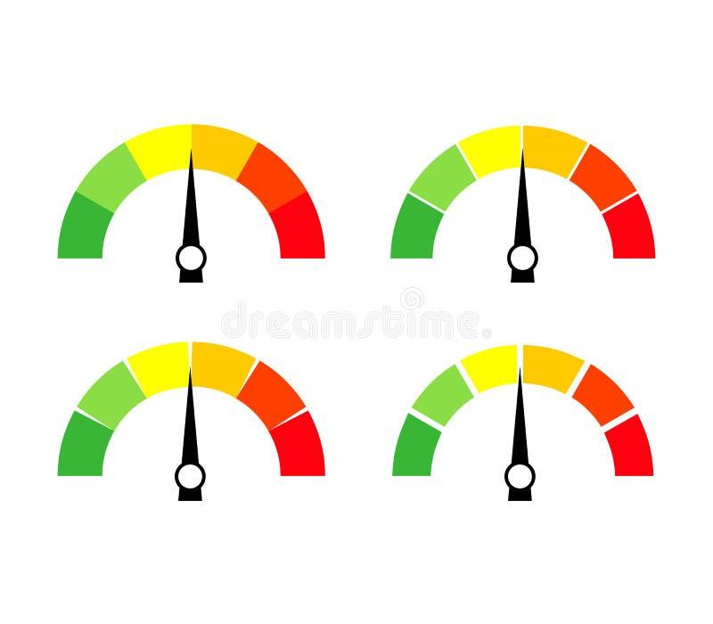 车速表象或标志与箭头 五颜六色的Infographic测量仪元素的汇集 库存例证