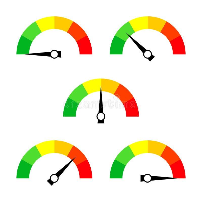 车速表象或标志与箭头 五颜六色的Infographic测量仪元素的汇集 向量例证