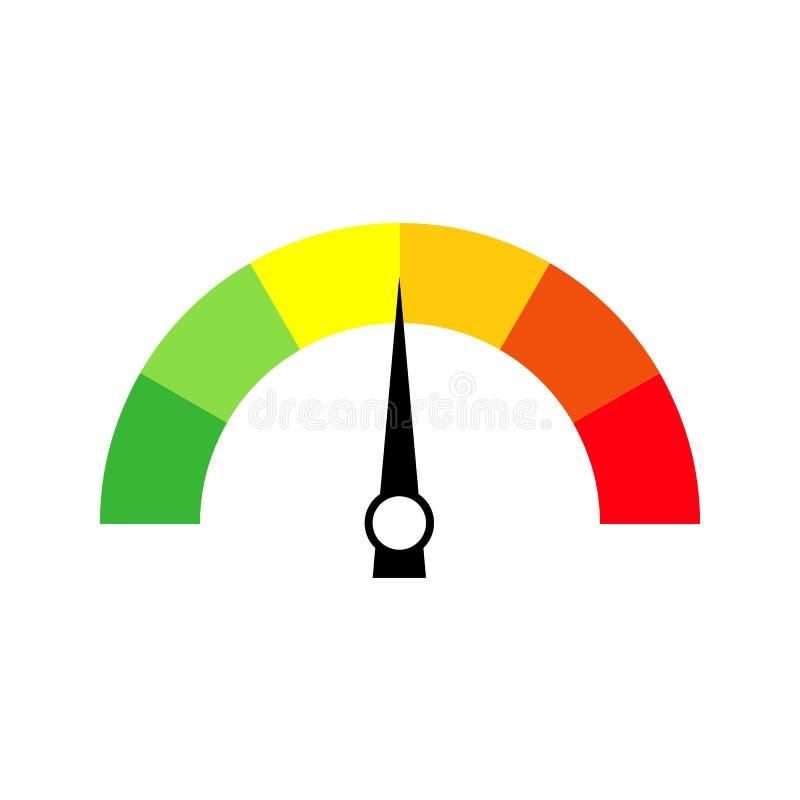 车速表象或标志与箭头 五颜六色infographic 向量例证