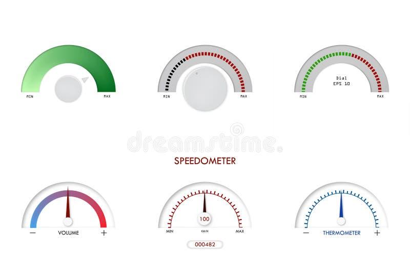 车速表,传感器,显示,温度计传染媒介例证仪表板盘区测量标志拨号盘气体 皇族释放例证