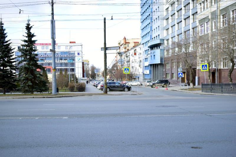 '车里雅宾斯克,南乌拉尔/俄罗斯联邦:列宁大道、市中心、政府和行政大楼 库存照片