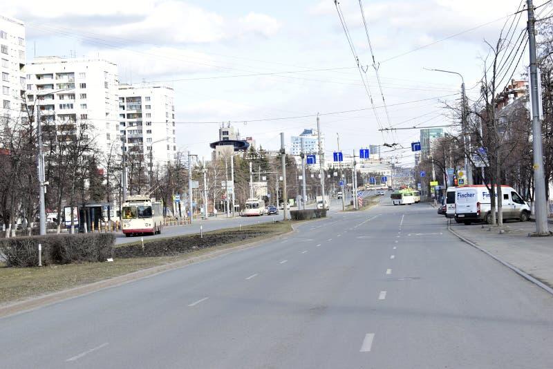 '车里雅宾斯克,南乌拉尔/俄罗斯联邦:列宁大道、市中心、政府和行政大楼 免版税库存照片