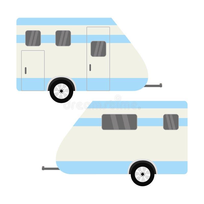 车露营者货车 被隔绝的有蓬卡车 库存例证