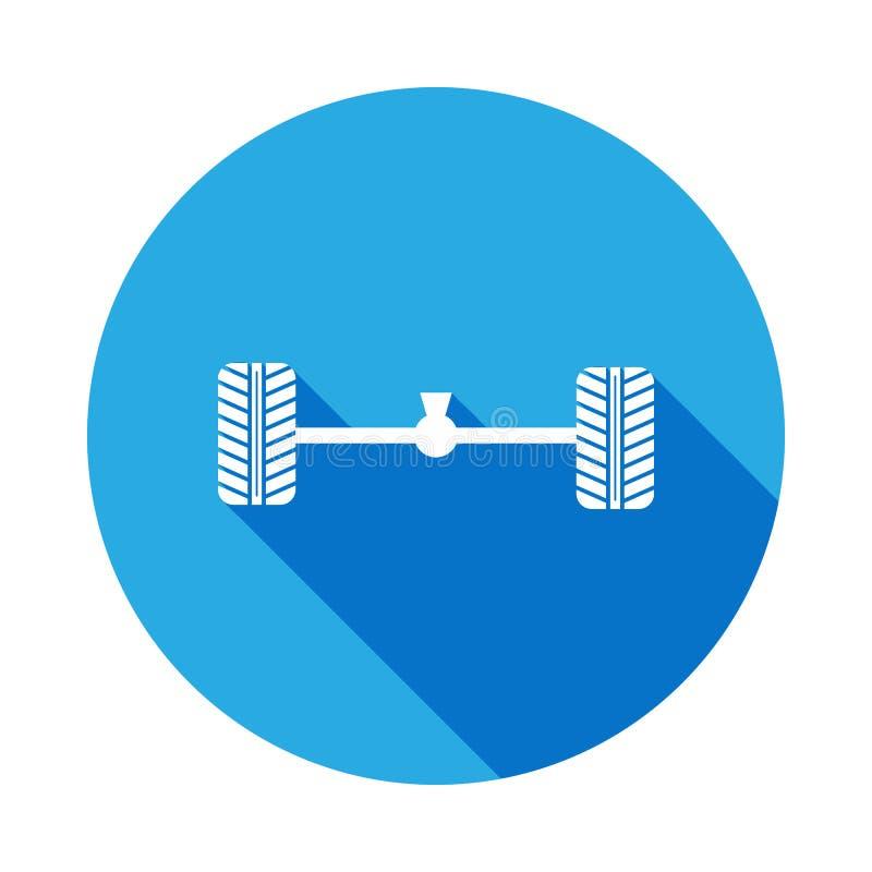 轨和轮子与长的阴影的汽车象 汽车修理服务例证的元素 标志和标志象网站的,网de 皇族释放例证