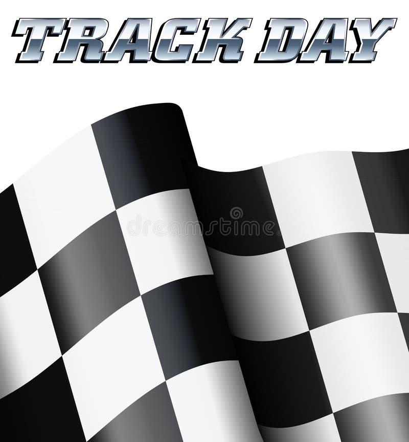 轨道天方格的旗子,方格的旗子马达赛跑的体育 库存例证