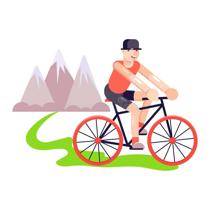 轨道自行车传染媒介例证的三项全能人 年轻成人人或男孩旅行室外在山附近 r 库存例证