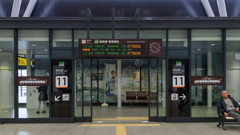 轨道高速火车入口和信息板  免版税库存图片