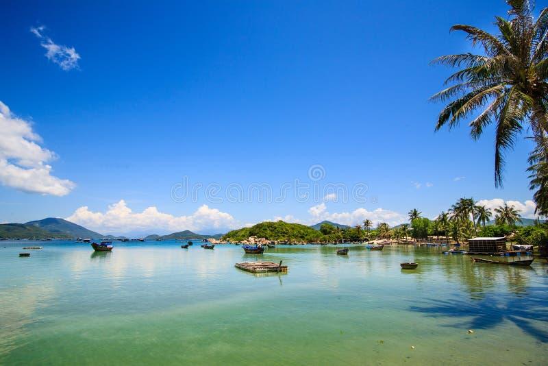 轩粪(儿子粪)海滩,范Phong海湾, Khanh H 免版税库存图片