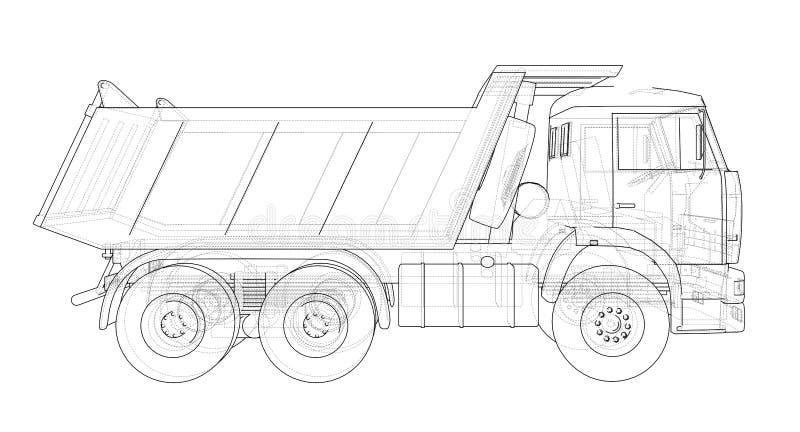 转储挖掘机海运卡车 向量 库存例证