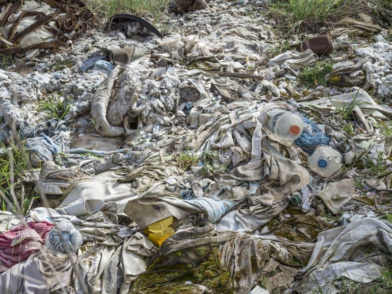 转储环境森林垃圾问题 浪费沾染土壤 库存照片