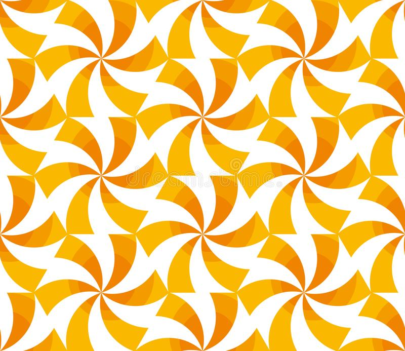 转动几何无缝的样式的晴朗的黄色 皇族释放例证