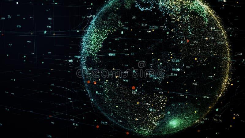转动在全球性未来派网络网络的绿色行星地球 向量例证