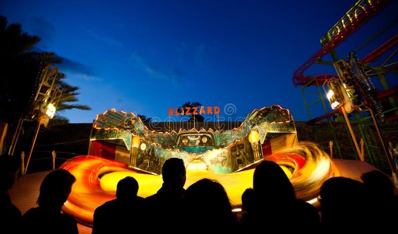 转动在晚上的游艺集市乘驾 免版税图库摄影