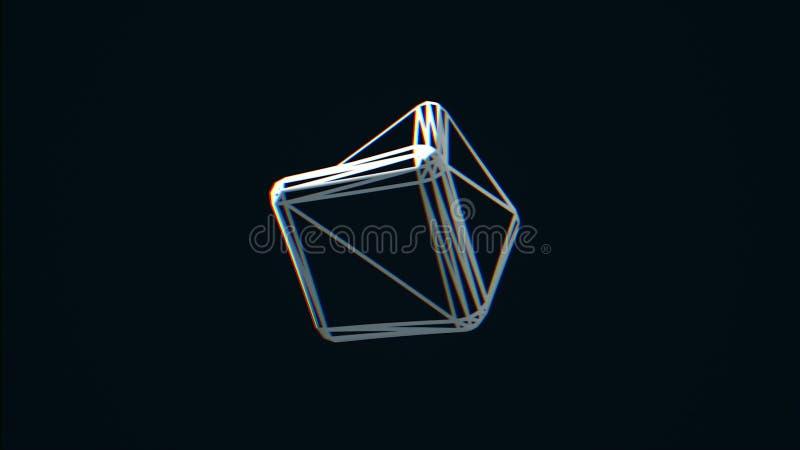 转动在黑背景的白色立方体边缘 转动混乱立方体等高,黑白照片的摘要 向量例证