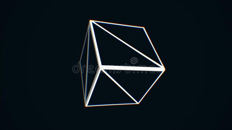 转动在黑背景的白色立方体边缘 转动混乱立方体等高,黑白照片的摘要 皇族释放例证