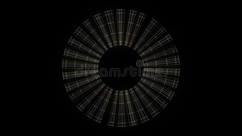 转动在黑背景,无缝的圈的摘要透明光芒框架 o 淡光的转动的刀片 皇族释放例证