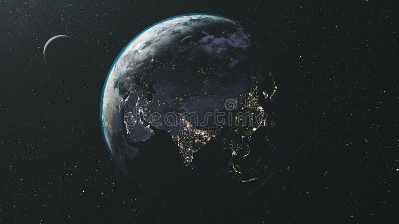 转动地球月亮轨道星银河背景 库存例证