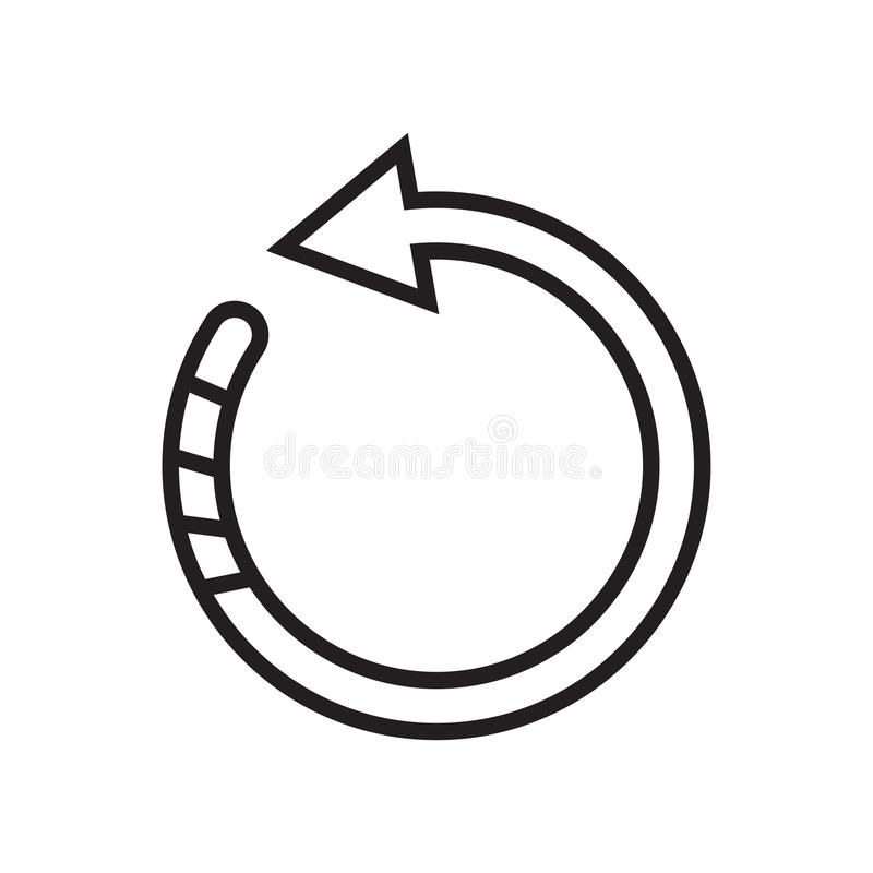 转动左象在白色backgr隔绝的传染媒介标志和标志 库存例证