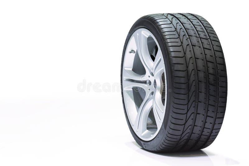 转动汽车,车胎,在白色backgroun的铝轮子 免版税库存照片