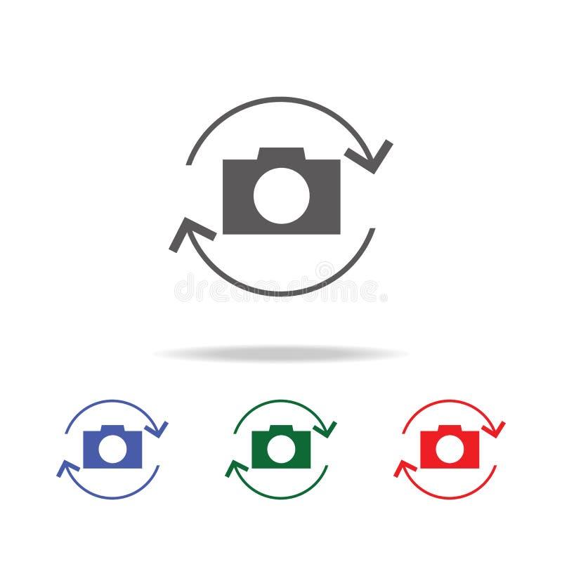转动照相机象 照片照相机的元素在多色的象的 优质质量图形设计象 网站的简单的象 库存例证