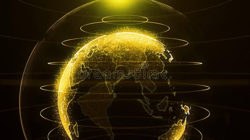 转动的地球 行星地球作为与力量弧的一张黄光全息图排行 真正地球未来派地球全息图 皇族释放例证