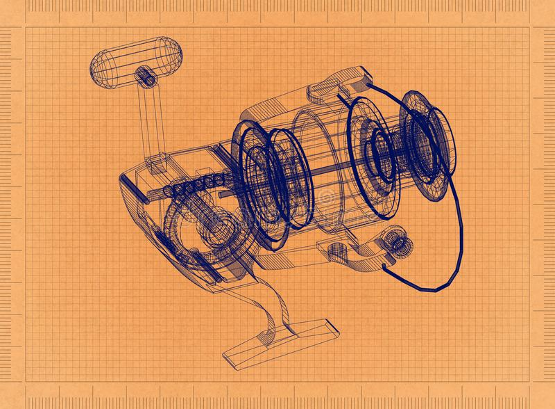转动的渔卷轴-减速火箭的图纸 皇族释放例证