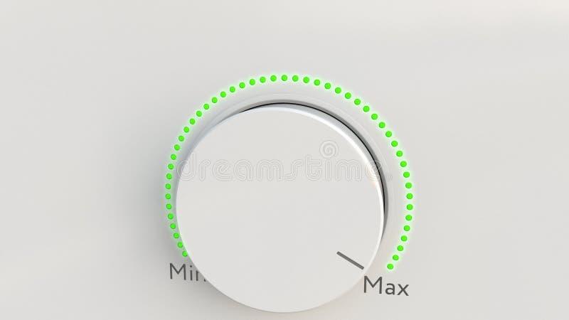 转动的白色高科技瘤从极小值到最大值 3d概念性翻译 库存例证