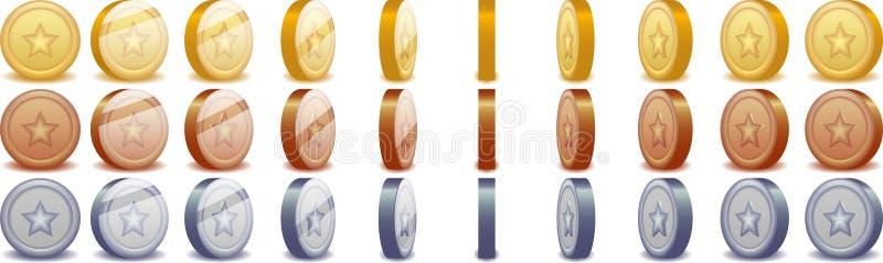 转动的硬币 向量例证