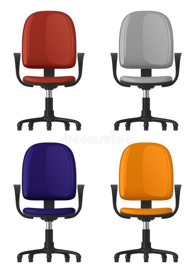转动,在轮子,有后面架靠背和扶手的,四的办公室椅子上色选择,正面图 库存例证