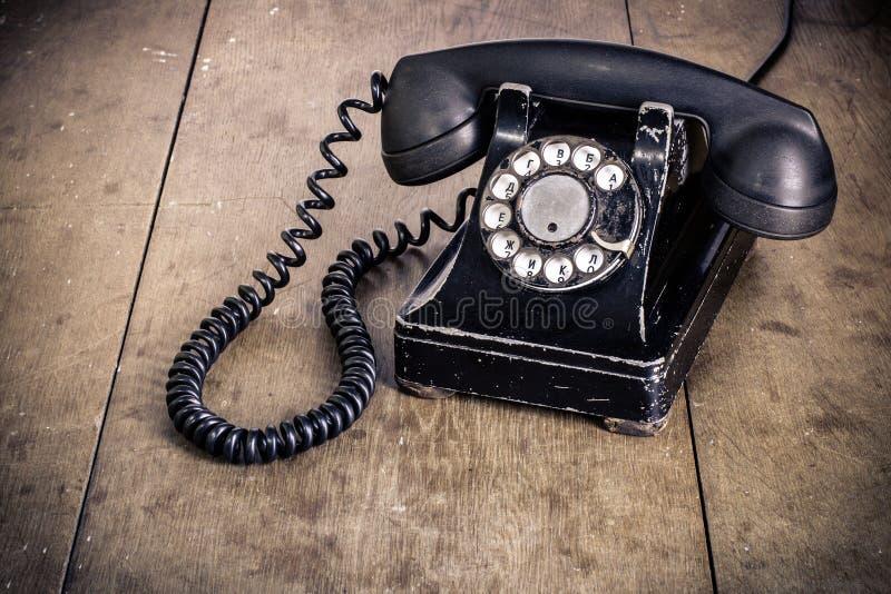 黑转台式电话 免版税图库摄影
