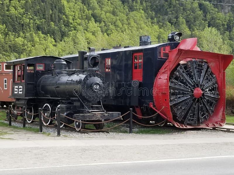 转台式铁路吹雪机 库存照片