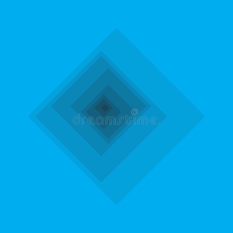 转弯深度蓝色正方形 库存例证