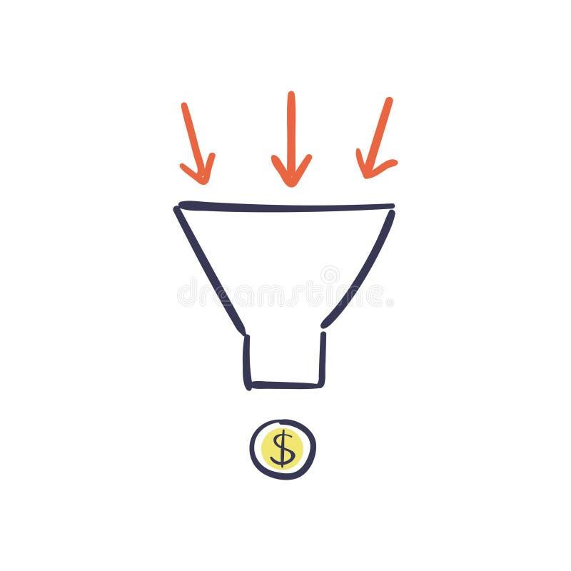 转换优化-传染媒介例证 互联网与销售漏斗和成长曲线图的营销概念 库存例证
