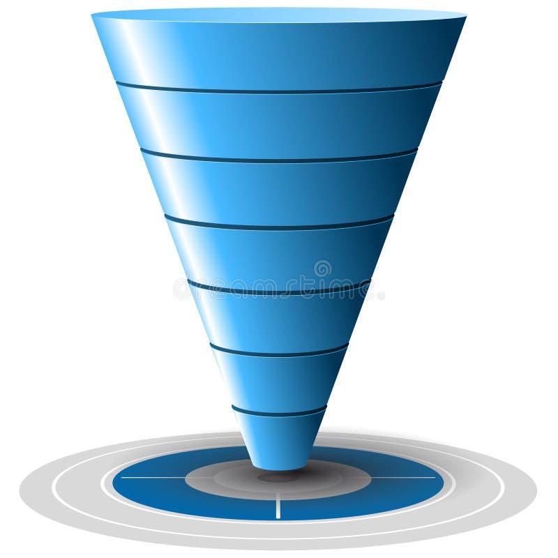 转换或销售额漏斗,向量图形 库存例证