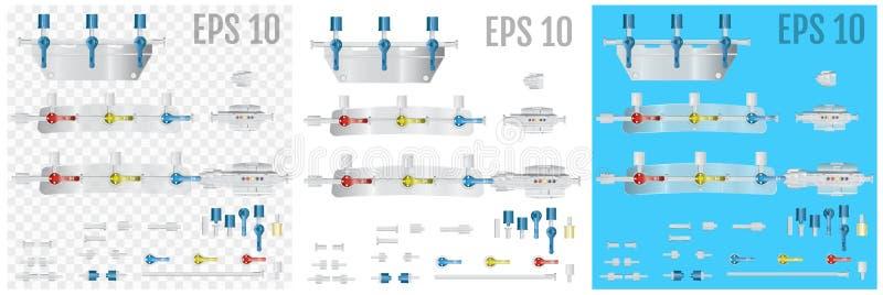 转换系统的设备零件静脉内注入的 库存例证