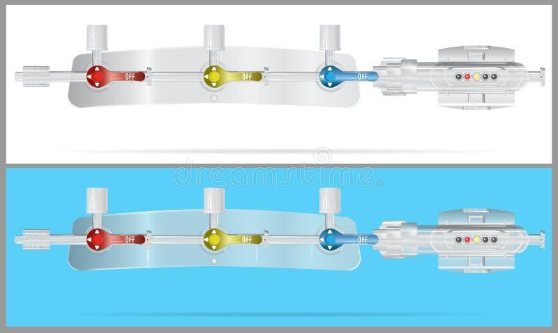 转换系统的设备零件静脉内注入的 皇族释放例证