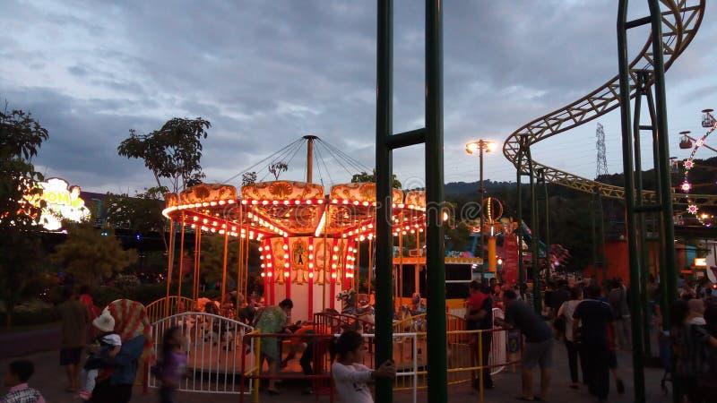 转盘在夜公园 免版税图库摄影