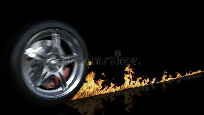 轮子和火 向量例证