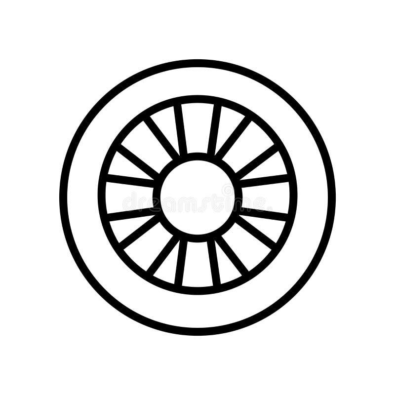 轮子在白色背景、轮子标志、线性标志和冲程设计元素隔绝的象传染媒介在概述样式 向量例证