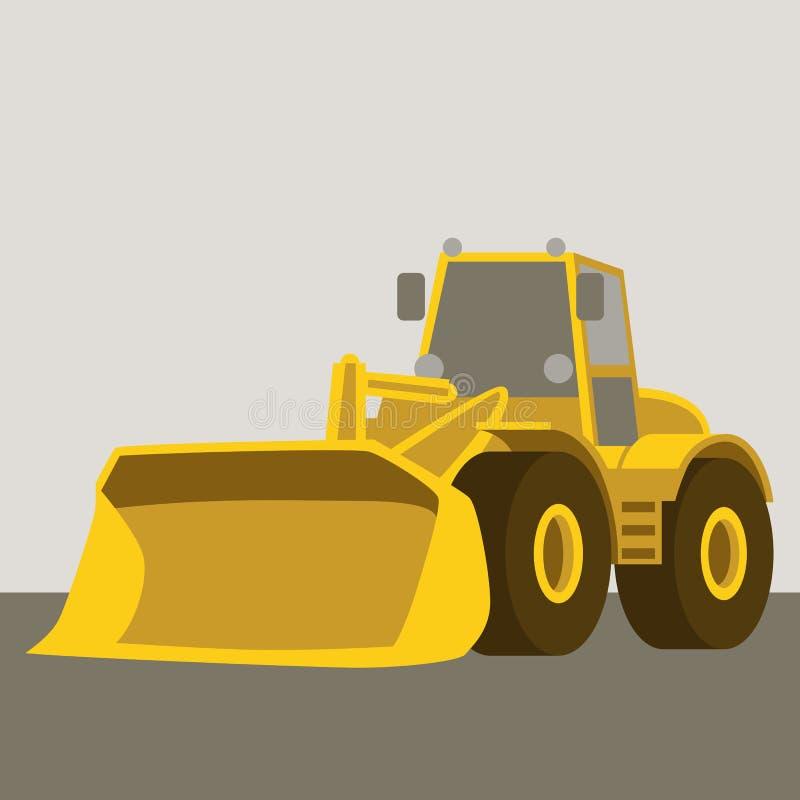 轮子推土机黄色传染媒介例证平的样式 向量例证